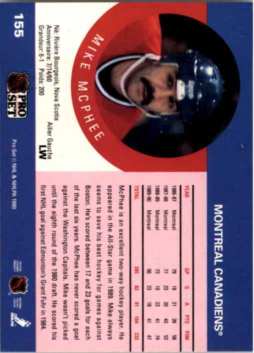 1990-91 Pro Set #155 Mike McPhee back image