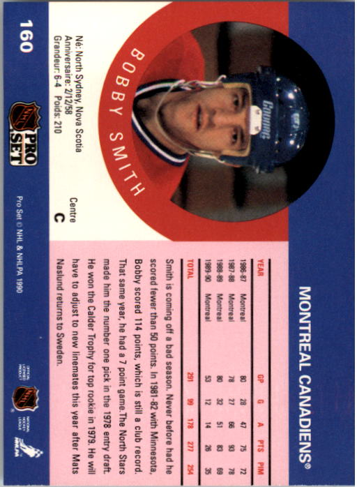 1990-91 Pro Set #160 Bobby Smith UER/(No mention of trade from/Montreal to Minnesota) back image