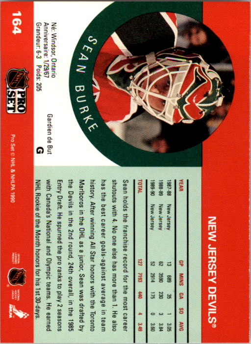 1990-91 Pro Set #164 Sean Burke back image