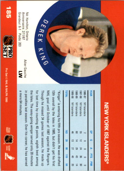 1990-91 Pro Set #185 Derek King back image