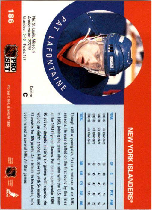 1990-91 Pro Set #186 Pat LaFontaine back image