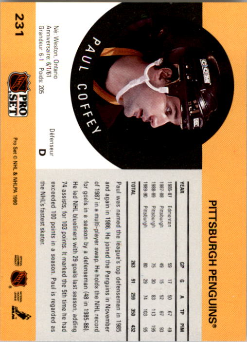1990-91 Pro Set #231 Paul Coffey back image