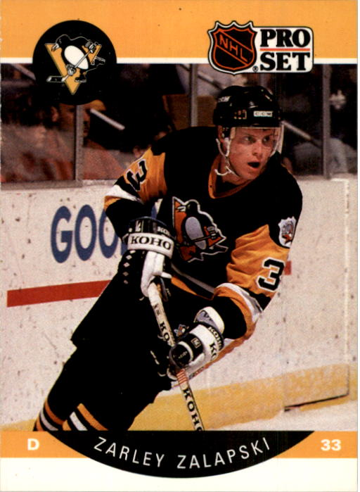 1990-91 Pro Set #242 Zarley Zalapski UER/(Pittsburgh misspelled/as Pittsburg)