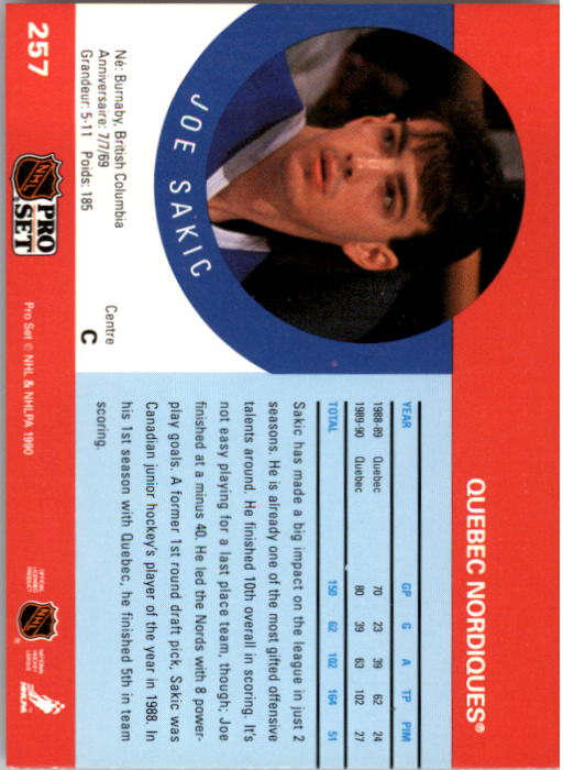 1990-91 Pro Set #257 Joe Sakic UER/(Front 88, back 19) back image