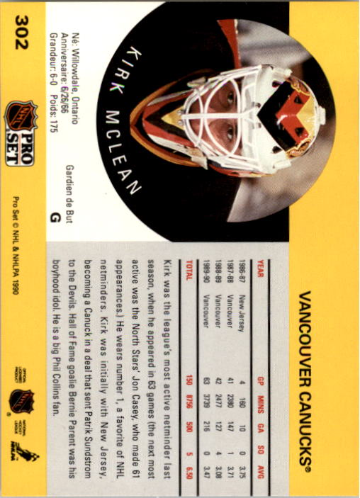1990-91 Pro Set #302 Kirk McLean UER/(Career GAA should/be 3.46, not 6.50) back image