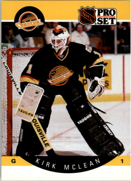 1990-91 Pro Set #302 Kirk McLean UER/(Career GAA should/be 3.46, not 6.50)