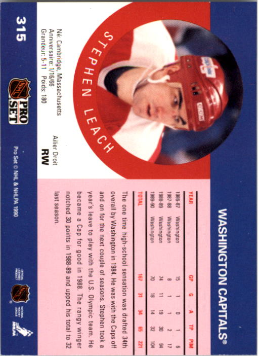1990-91 Pro Set #315 Stephen Leach back image