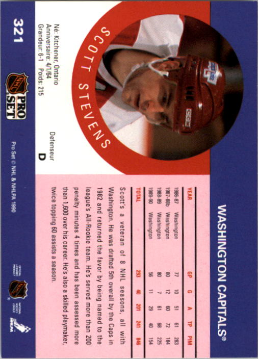 1990-91 Pro Set #321 Scott Stevens UER/(No accent in first e/in Defenseur;/1987-886) back image