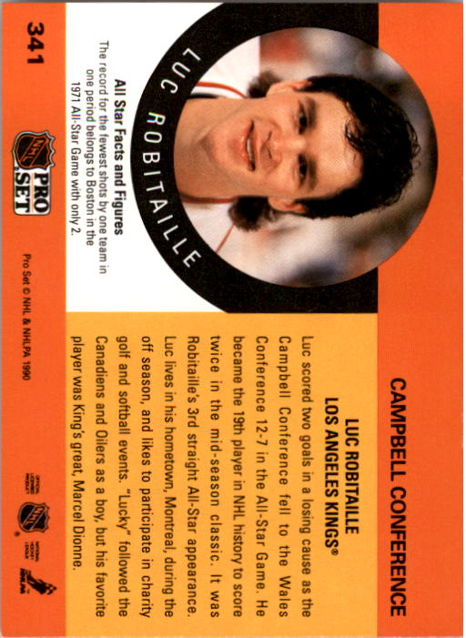 1990-91 Pro Set #341 Luc Robitaille AS UER/(Fewest shots by Eastern/AS's, not Boston) back image
