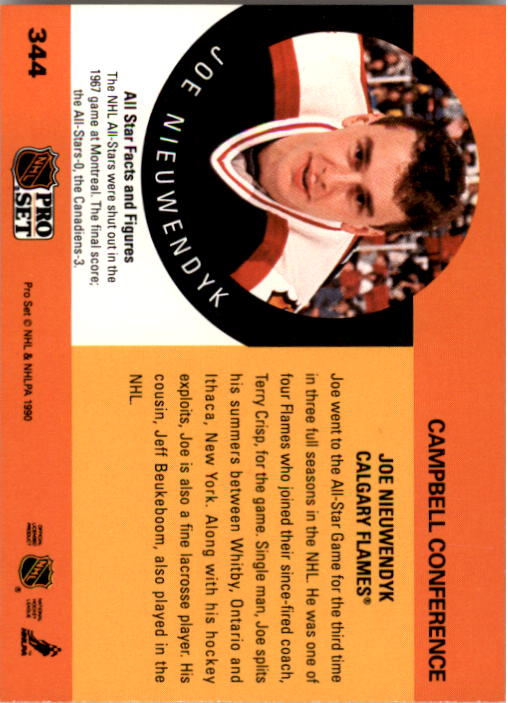 1990-91 Pro Set #344 Joe Nieuwendyk AS back image