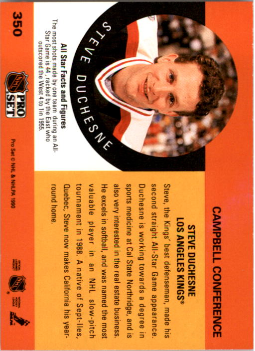 1990-91 Pro Set #350 Steve Duchesne AS UER/(1955 on back should read 1970) back image