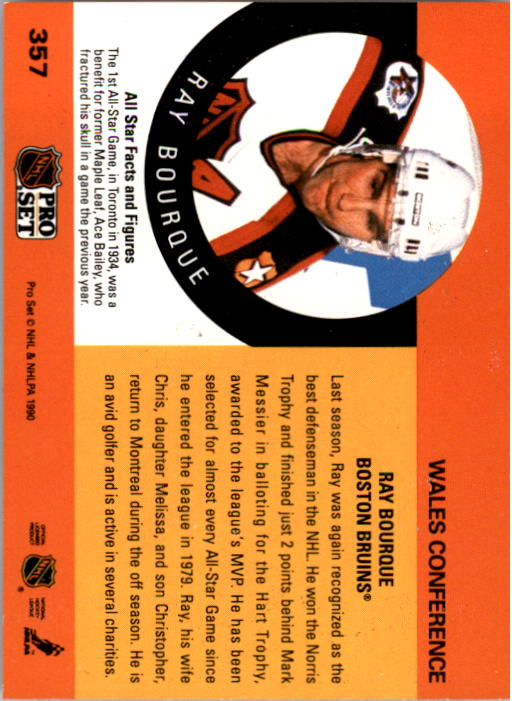 1990-91 Pro Set #357 Ray Bourque AS back image