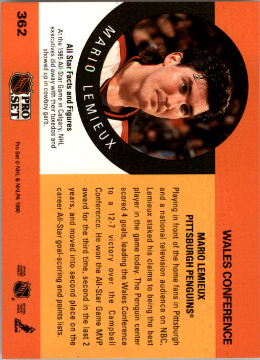 1990-91 Pro Set #362 Mario Lemieux AS back image