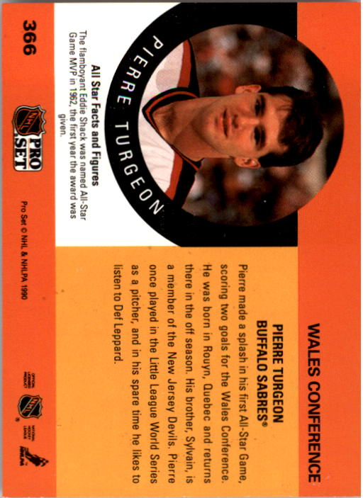 1990-91 Pro Set #366 Pierre Turgeon AS back image