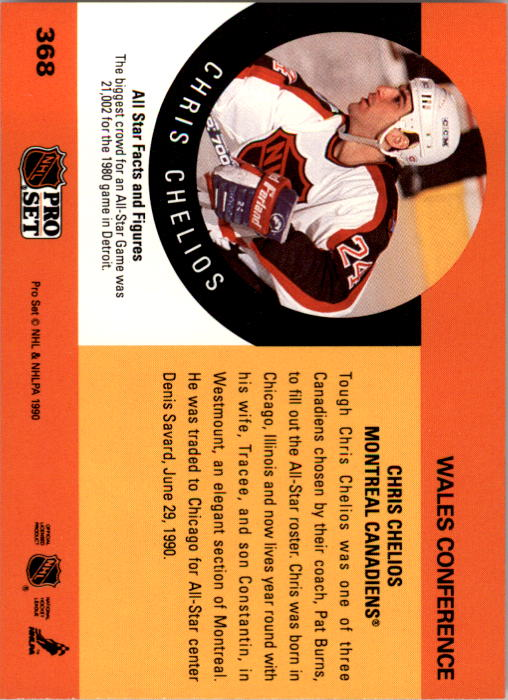 1990-91 Pro Set #368 Chris Chelios AS back image