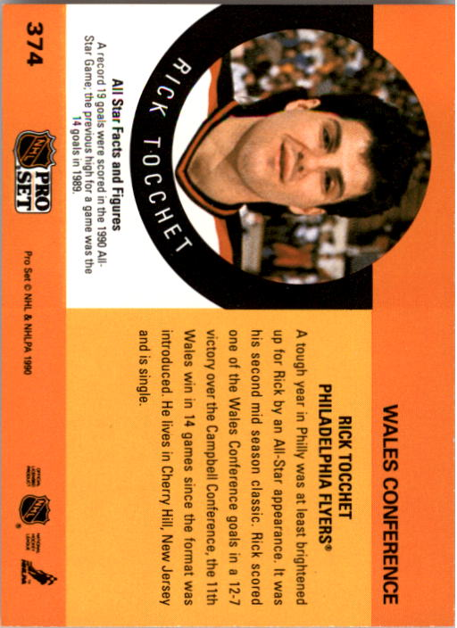 1990-91 Pro Set #374 Rick Tocchet AS back image