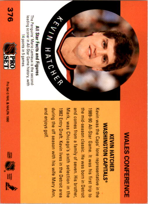 1990-91 Pro Set #376 Kevin Hatcher AS back image