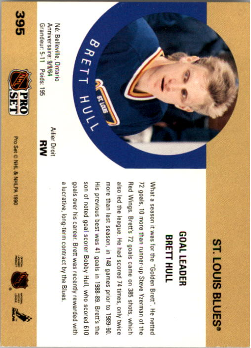 1990-91 Pro Set #395 Brett Hull LL UER/(Born 8/9/64,/not 9/9/64) back image