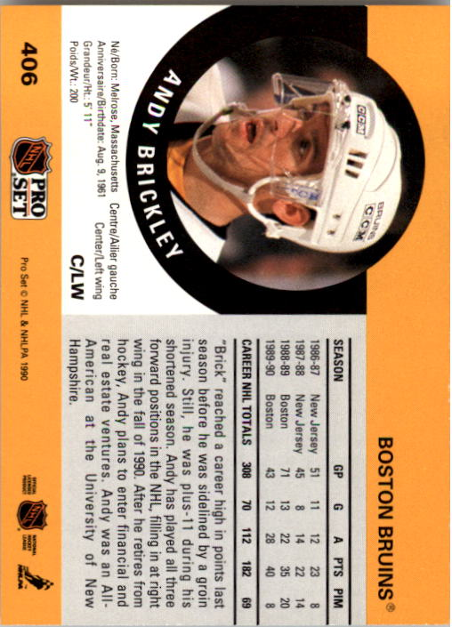 1990-91 Pro Set #406 Andy Brickley back image