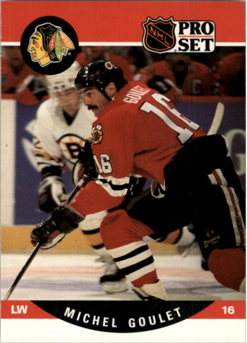 1990-91 Pro Set #430 Michel Goulet UER/(White position and number/on front, not black)