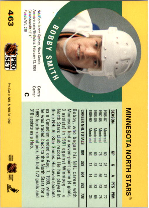 1990-91 Pro Set #463 Bobby Smith back image