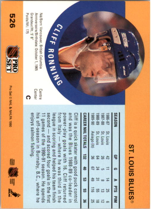 1990-91 Pro Set #526 Cliff Ronning back image
