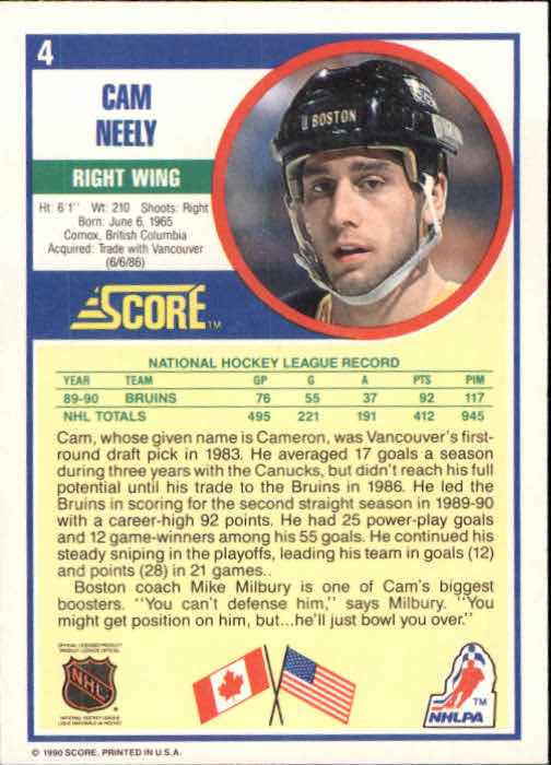 1990-91 Score #4 Cam Neely back image