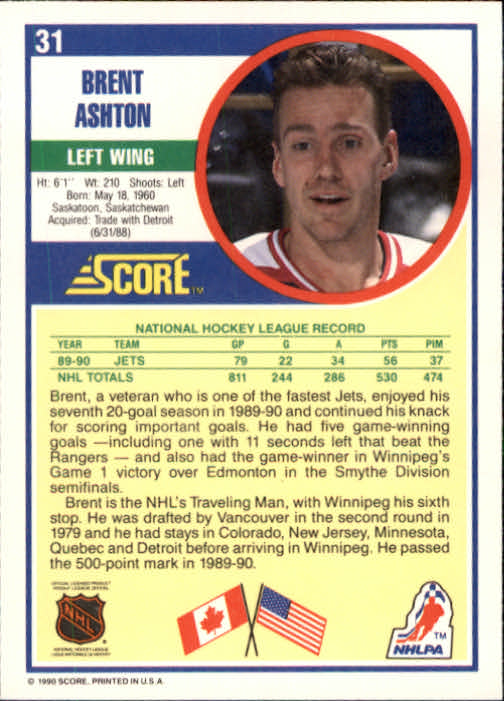 1990-91 Score #31A Brent Ashton ERR/(No position on card front) back image