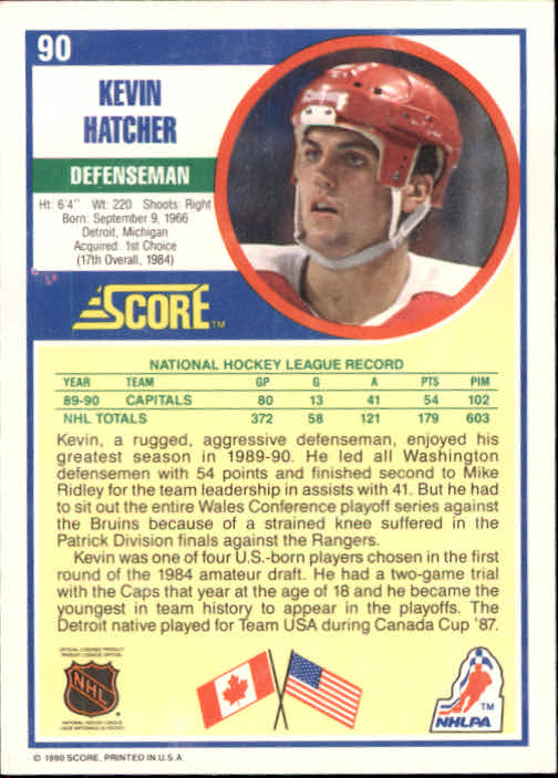 1990-91 Score #90 Kevin Hatcher back image
