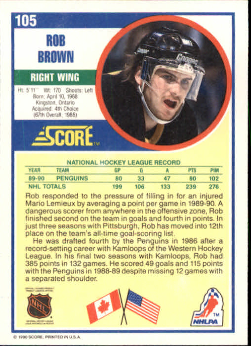 1990-91 Score #105 Rob Brown back image