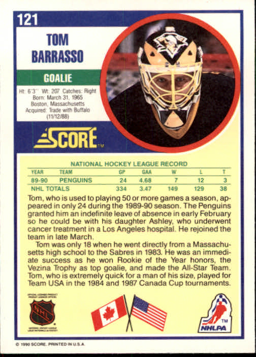 1990-91 Score #121 Tom Barrasso back image