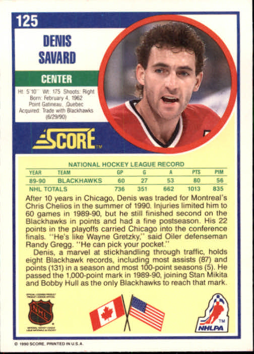 1990-91 Score #125 Denis Savard back image