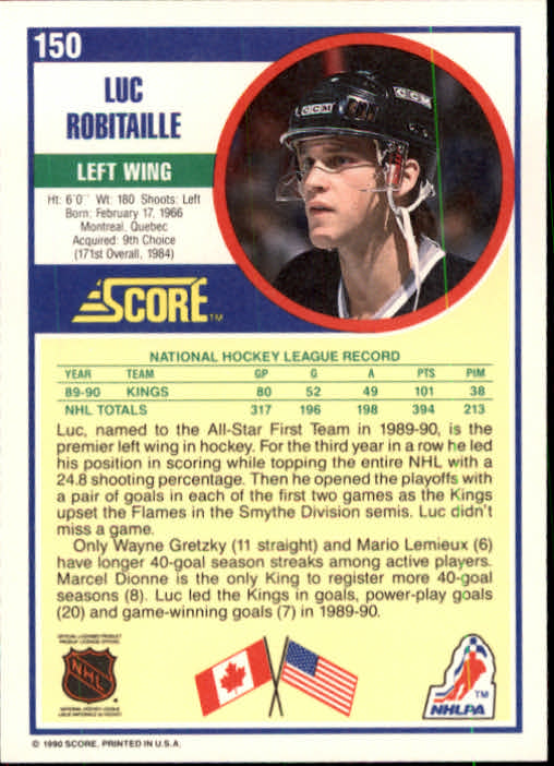 1990-91 Score #150 Luc Robitaille back image