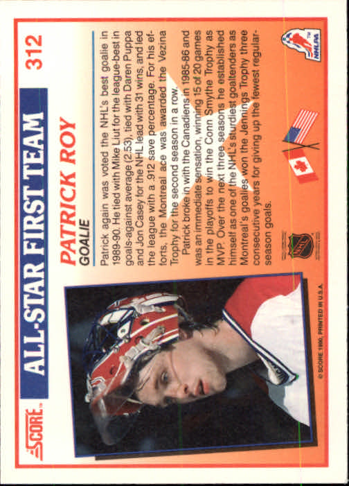 1990-91 Score #312 Patrick Roy AS1 back image