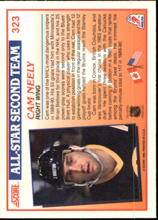 1990-91 Score #323 Cam Neely AS2 back image