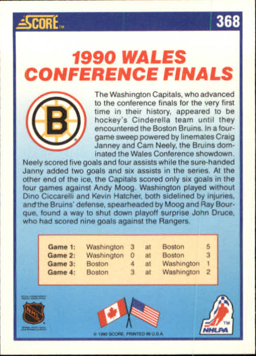 1990-91 Score #368 Boston/Washington UER/(Janney misspelled Janny on back) back image