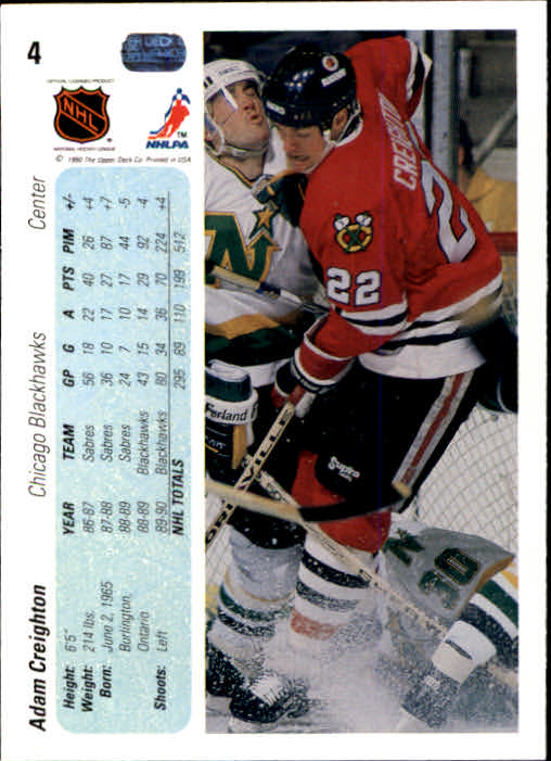 1990-91 Upper Deck #4 Adam Creighton back image