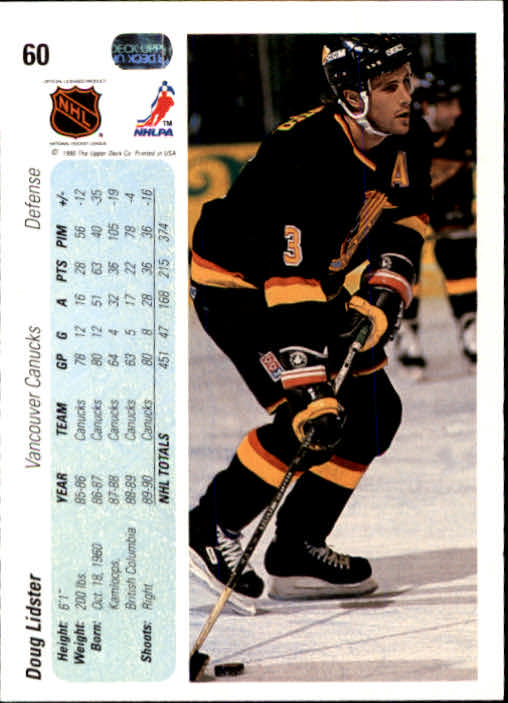 1990-91 Upper Deck #60 Doug Lidster back image