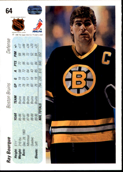 1990-91 Upper Deck #64 Ray Bourque back image