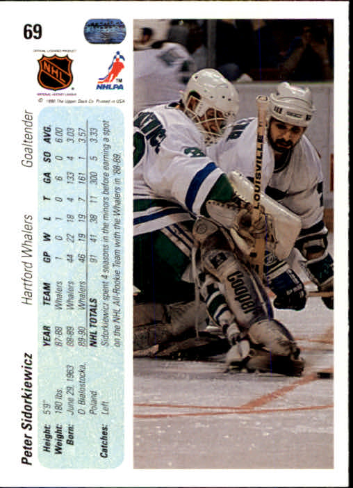 1990-91 Upper Deck #69 Peter Sidorkiewicz back image