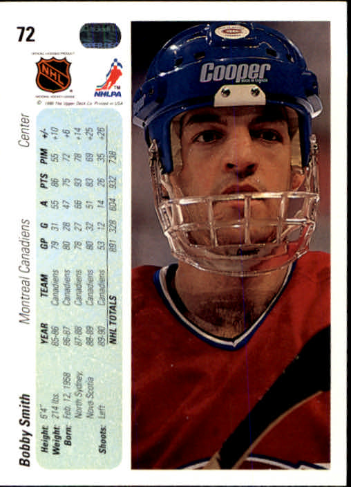 1990-91 Upper Deck #72 Bobby Smith back image