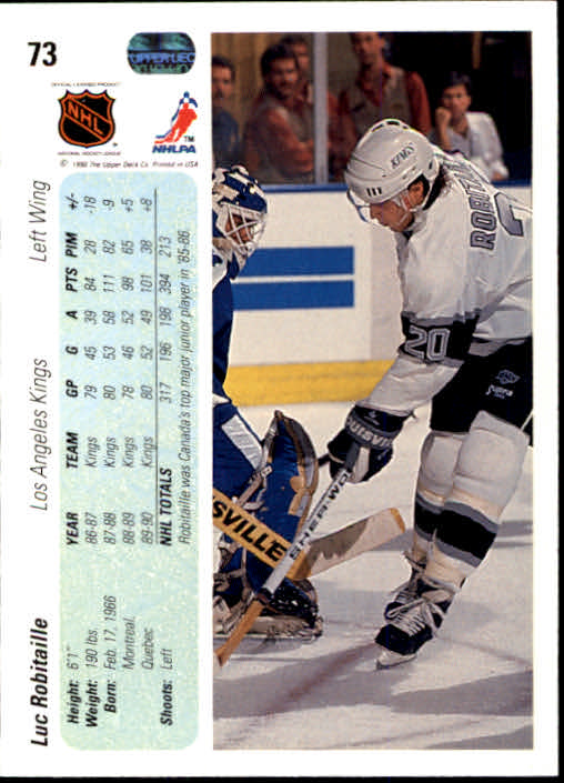 1990-91 Upper Deck #73 Luc Robitaille back image