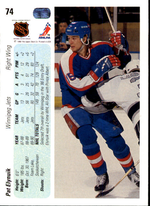 1990-91 Upper Deck #74 Pat Elynuik back image