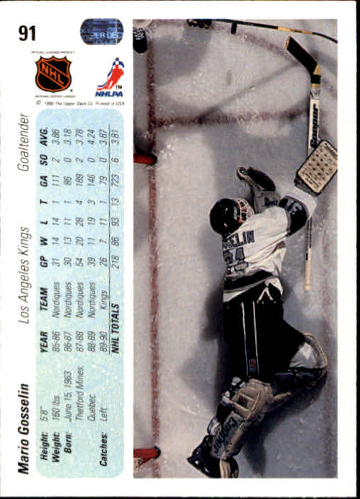 1990-91 Upper Deck #91 Mario Gosselin back image