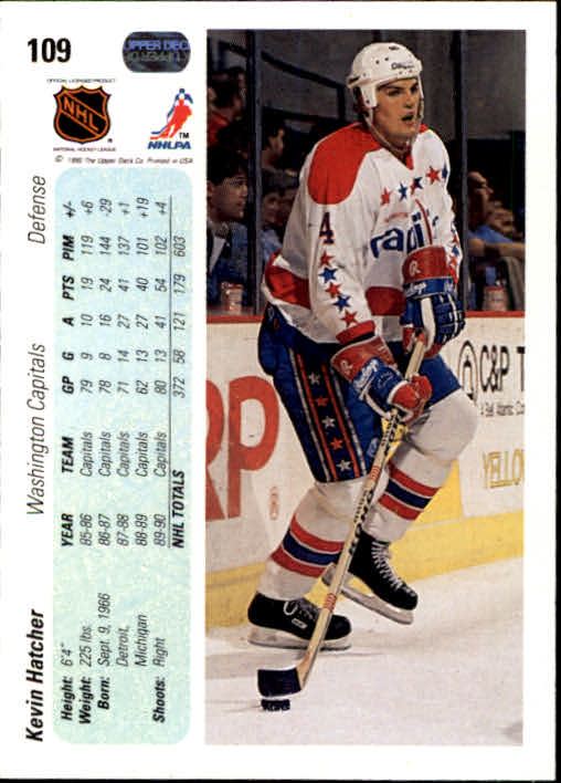 1990-91 Upper Deck #109 Kevin Hatcher back image