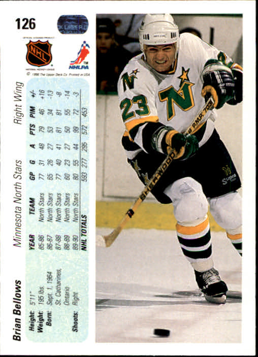 1990-91 Upper Deck #126 Brian Bellows back image