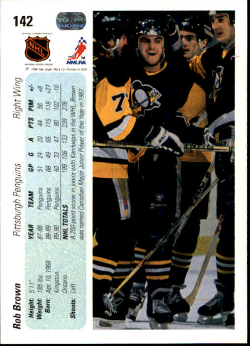 1990-91 Upper Deck #142 Rob Brown back image