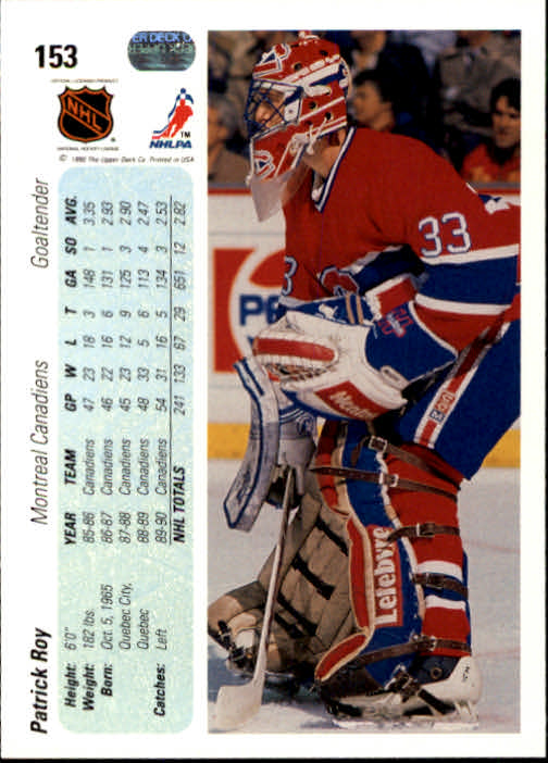 1990-91 Upper Deck #153 Patrick Roy UER/feet and inches reversed back image