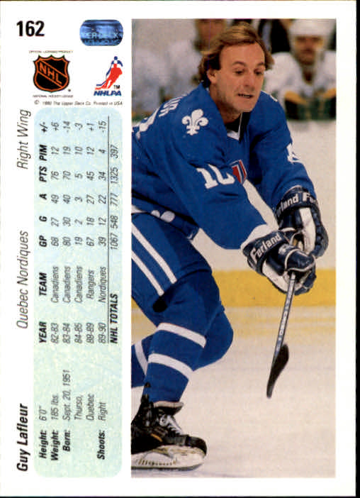 1990-91 Upper Deck #162 Guy Lafleur back image