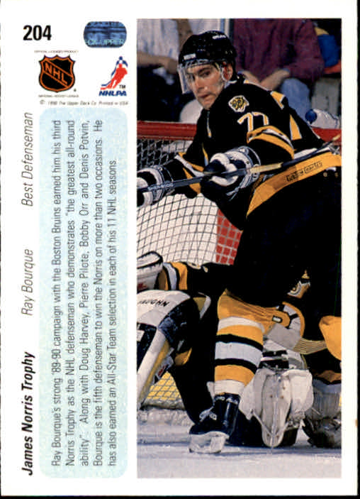 1990-91 Upper Deck #204 Norris Trophy/Ray Bourque back image